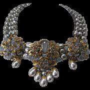 STANLEY HAGLER N.Y.C Heavily Clustered Light Platinum Pearls Molded Glass Flowers & Rhinestone