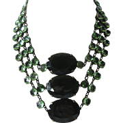 J.Max Green Open Back Glass Large One Of A Kind Bib Necklace