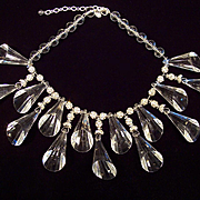 Joan Rivers Clear Lucite Cone Bib Necklace