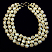 Triple Strand Baroque Pearl Necklace Signed Les Bernard