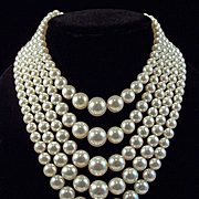 Vintage 5 Strand Faux Pearl Necklace