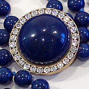 Vintage Triple strand Blue Lapis Glass Bead Opera Length Necklace