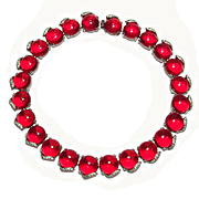 Stunning Red Glass Jelly Belly Pave Necklace