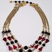 Vendome Black & Red Crystal 3 strand Necklace 1960's