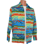 SOLD Vintage 1970s Tori Richard Honolulu Psychedelic Hawaiian Aloha Tiki Print Shirt M L