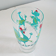 Authentic Vintage 1950s Barware Bar Ware Martini Cocktail Shaker with Bright Graphics Rooster Giraffe Poodle Elephant