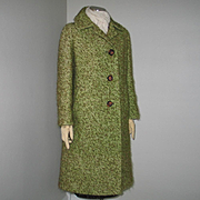 SALE Authentic Vintage 1960s Thick Tweed Coat Green Espresso Brown M L