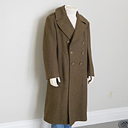 Authentic Vintage 1940s WWII Army Fatigue Olive Green Military Issue Winter Wool Double Breasted Overcoat 42R