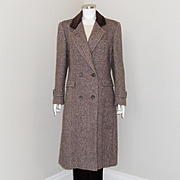 SALE Vintage 1980s Brown Cream Thick Tweed Winter Wool Chesterfield Coat by Evan-Picone M
