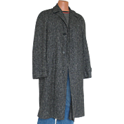 SALE Vintage 1950s Black and Gray Tweed Cozy Wool Winter Overcoat Coat Mens with Removable ...