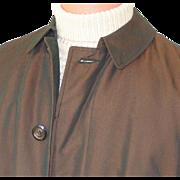 Vintage Copper Sharkskin Raincoat Briarcliff All Weather Faux Fur Removable Liner Coat Mens ..