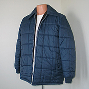 Vintage 1970s Quilted Navy Blue Nylon Jacket with Cozy Faux Fur Lining M L