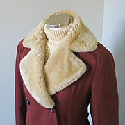 Vintage 1940s Minnesota Russet Brown Double Breasted Gabardine Winter Storm Coat with Cozy Mou