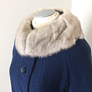 Vintage 1960s Royal Blue Boucle Wool Coat with Silver Gray Mink Collar and Beautiful Blue Sati