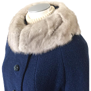 Vintage 1960s Royal Blue Boucle Wool Coat with Silver Gray Mink Collar and Beautiful Blue ...