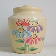 Vintage 1930s Ceramic Handpainted Cookie Jar with Flowers