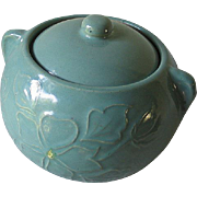 Vintage Aqua Teal Stoneware Pottery Ceramic Cookie Jar Bean Pot with Lid 2.5 Qt