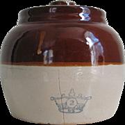 Vintage Rustic Brown n Tan Ransbottom Stoneware Ceramic Bean Pot