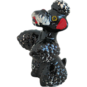 Vintage 1950s Handpainted Ceramic Black Poodle Figurine