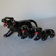 Vintage Black Leopard Circus Cat Family Set of Three Ceramic Figurines