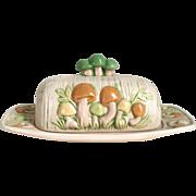 Vintage 1970s Ceramic Pottery Mushroom Butter Tray Set