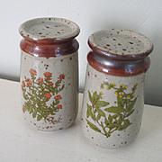 Vintage 1970s Green Garden Herb Transfer Ceramic Salt & Pepper Shaker Set