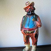 Vintage 1950s 1960s Chalkware Plaster Colorful Cowboy Figurine