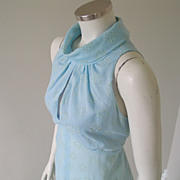 Vintage 1970s Light Blue Psuedo Halter Maxi Dress with Flocked Hearts