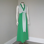 Vintage 1970s  Green and White Textured Dot Maxi Dress M