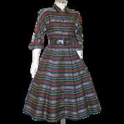 "Vintage 1950s Bright ""Ribbon"" Stripe Dolman Dress with Full Skirt S"
