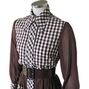 Vintage 1970s Brown Gingham Day Dress with Enormous Collar Points