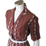 Vintage 1950s Brown Striped Fit and Flare Shirtwaist Dress with Jacquard Embroidered Eagle Crest M