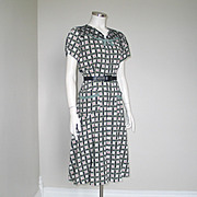 Vintage 1940s Top Mode Frocks Dress Housedress Green Black White Red L XL
