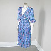 Vintage 1980s Authentic Susan Freis Periwinkle Peplum Polka Dot Flowers Ruffle Dress