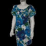 SOLD Authentic Vintage 1960s Blue Floral Print Tiki Dress by Alice L XL