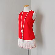 SALE Vintage 1970s Micro Mini Red Dress with White Fringe Hem