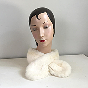 Vintage Winter White Fur Scarf Tippet