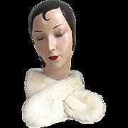 Vintage Winter White Fur Scarf Tippet