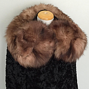 Vintage 1930s Double Curl Fur Shrug Collar Scarf Necklace