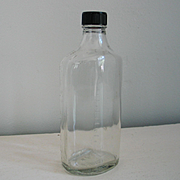 Vintage Script Duraglas Clear Glass Apothecary Bottle with Black Screw-on Lid