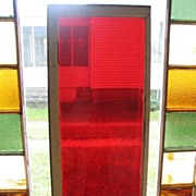 SALE Antique 1800s Midwestern Farmhouse Red Glass Transom Window