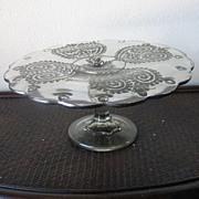 Vintage Modern Georges Briard Flowers N Hearts Glass Cake Plate Wedding Gift