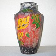 Vintage Art Nouveau Poppy Motif Goofus Glass Vase Red Black Gold