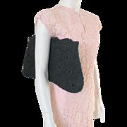 Vintage 1940s Huge Black Corde Crocheted Purse Envelope Handbag