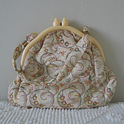 Authentic Vintage 1930s Embroidered Handbag with Early Plastic Art Deco Celluloid Frame