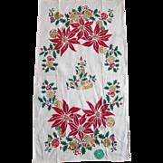 Vintage Christmas Poinsettias Bells and Candle Print Gilt Linen Kitchen Towel