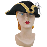 SOLD Halloween Black Tricorne Pirate Hat with Gold Braided Trim Halloween Costume Masquerade
