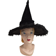 SOLD Black Faux Fur and Velvety Soft Plush Pointy Witch's Hat Halloween Dress Up Bewitched