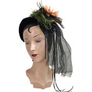 SOLD Vintage 1950s Black Velvet Hat Band with Feathers, Flower, Veil and Ribbon Dance Hall Gir