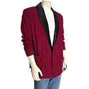 SOLD Vintage Dark Red Corduroy Smoking Jacket with Contrast Black Satin Shawl Collar Halloween